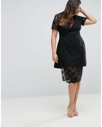 ASOS - Black Asymmetric Pencil Dress With Lace And Ruffles - Lyst