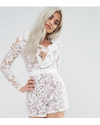 Missguided White Premium Lace Frill Playsuit