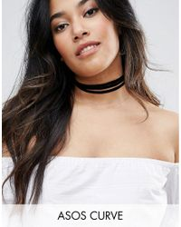 ASOS - Black Velvet Wrapped Choker Necklace - Lyst
