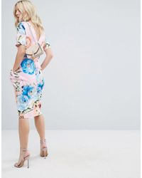 ASOS - Midi Wiggle Dress In Pink Floral Print - Lyst