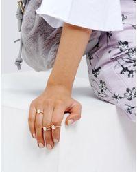 ASOS | Metallic Pack Of 3 Fine Faux Opal Stone Rings | Lyst