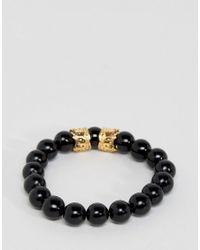 Mister - Black Bead Reacelet In Onyx & Gold for Men - Lyst