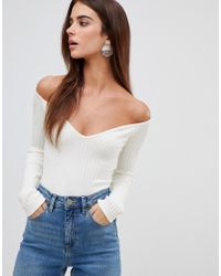 Missguided Sweetheart Neck Knitted Bodysuit in White - Lyst 98136cb3a