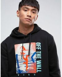 Vans - Above Chima Pullover Printed Hoodie With Backprint In Black Va36klblk for Men - Lyst