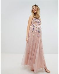 fdf7be230cc9 Women's Pink Asos Design Maternity Floral Embroidered Dobby Mesh Cami Strap  Maxi Dress