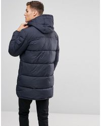 Esprit - Blue Long Down Coat In Navy for Men - Lyst