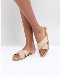 0a6b674461be7a London Rebel Metal Heel Flat Sandal in Natural - Lyst