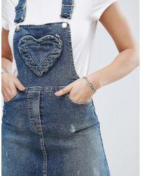 Love Moschino - Blue Denim Pinafore Dress - Lyst