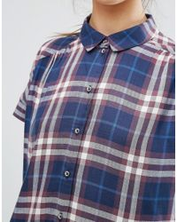 ONLY - Blue Batwing Check Shirt - Lyst