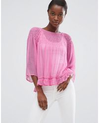 Mango - Pink Loose Fit Top With Frill Hem - Lyst