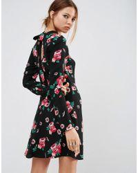 ASOS - Black High Neck Skater Dress With Open Back In Floral - Lyst