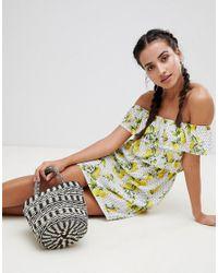 Missguided White Exclusive Lemon And Polka Dot Bardot Dress