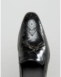 ASOS - Brogue Loafers In Black Leather With Tassel for Men - Lyst