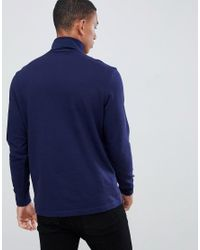 Lacoste - Blue T-shirt manches longues col roul- Bleu marine turtle neck long sleeve t-shirt in navy for Men - Lyst