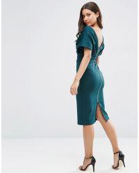 ASOS - Green Premium Fold Scuba Cape Midi Bodycon Dress - Lyst