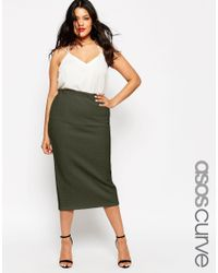 ASOS | Natural Midi Pencil Skirt In Cable Texture | Lyst