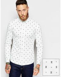 ASOS | White Skinny Shirt In Ditsy Geo Print for Men | Lyst