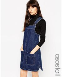 ASOS | Tall Denim Pinafore Dress With Patch Pockets In Rich Blue | Lyst