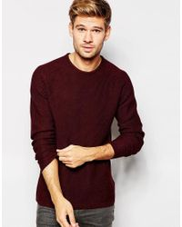 SELECTED | Purple Elected Homme Textured Knitted Crew Neck Jumper for Men | Lyst