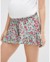 ASOS - Blue Ruffle Hem Short In Mint Floral - Lyst