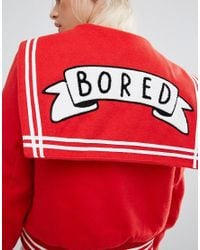 Lazy Oaf - Varsity Jacket With Bored Badge - Lyst