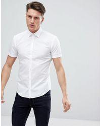HUGO - Short Sleeve Poplin Shirt In White for Men - Lyst