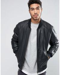 ASOS   Leather Bomber Jacket In Black for Men   Lyst