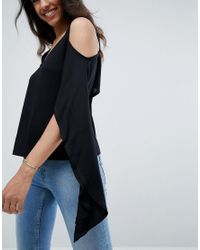 ASOS - Black Top With Cold Shoulder And Dramatic Ruffle - Lyst