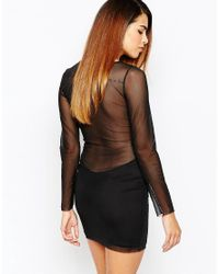 TFNC London - Natural Applique Front Bodycon Dress With Mesh Sleeves - Lyst