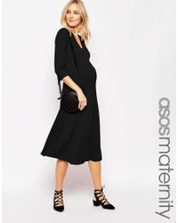 ASOS | Black Maternity Midi Skater Dress With V Neck | Lyst