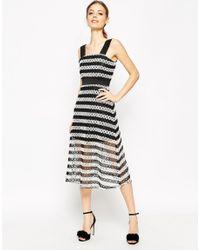 ASOS - Black Premium Lace Midi Dress In Stripe - Lyst