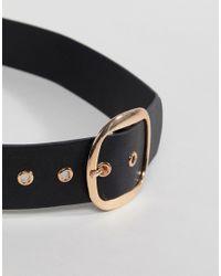 Stradivarius - Black Gold Circle Buckle Belt - Lyst