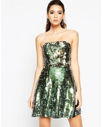 ASOS | Green Night Sequin Bandeau Mini Dress | Lyst