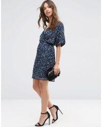 ASOS - Blue Sequin Kimono Mini Dress - Lyst