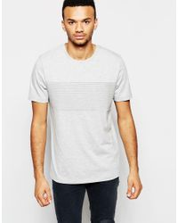 ASOS - Gray T-shirt With Rib Panel In Structured Jersey for Men - Lyst