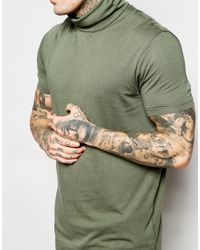 ASOS - Green Super Longline T-shirt With Drapey Roll Neck And Drop Hem for Men - Lyst