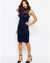 Vero Moda - Blue High Neck Lace Mini Dress - Lyst