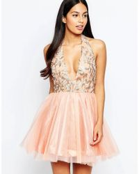 Rare Opulence | Orange Organza Dress With Plunge Neck | Lyst