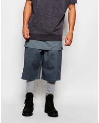 ASOS - Blue Meggings With Short And Panel Layer Detail for Men - Lyst