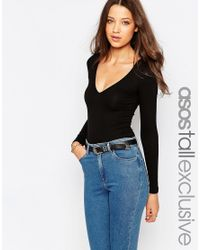 ASOS | Black Body With V Neck Long Sleeve And Thong | Lyst