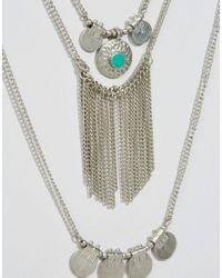 Pieces - Metallic Beluna Multirow Necklace - Lyst