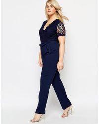 Club L   Blue Plus Size Jumpsuit With Scallop Lace Top   Lyst