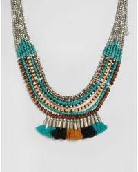 Pieces - Metallic Benua Tassel Necklace - Lyst