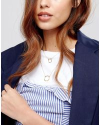 ASOS - Metallic Open Circle Multirow Necklace - Lyst