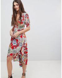 AX Paris - Red Printed Wrap Dress - Lyst