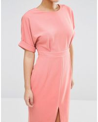 ASOS   Orange Smart Woven Dress With V Back And Split Front   Lyst