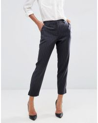ASOS - Blue Smart Crop Trouser In Pinstripe - Lyst
