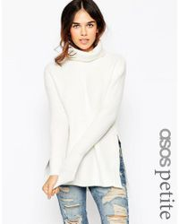 ASOS   Natural Petite Jumper In Brushed Yarn With High Neck And Side Splits   Lyst