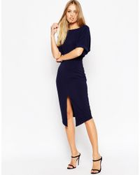ASOS - Blue Wiggle Dress With Split Front - Lyst