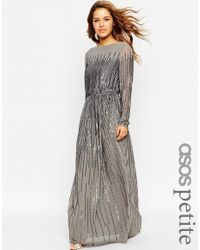 ASOS | Gray Petite Linear Sequin Long Sleeve Maxi Dress | Lyst